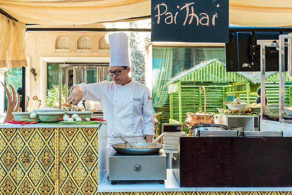 DUBAI, UAE - DECEMBER 18, 2015: Pai Thai station at the Arboretum restaurant located, in Jumeirah Al Qasr, Madinat Jumeirah Resort.