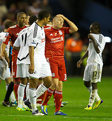 05.11.2011, Anfield Stadion, Liverpool, ENG, Premier League, FC Liverpool vs Swansea City, im Bild Liverpool's Craig Bellamy and his Wales team-mate Swansea City's Ashley Williams // during the premier league match between FC Liverpool vs Swansea City at Anfield Stadium, Liverpool, EnG on 05/11/2011. EXPA Pictures © 2011, PhotoCredit: EXPA/ Propaganda Photo/ David Rawcliff +++++ ATTENTION - OUT OF ENGLAND/GBR+++++