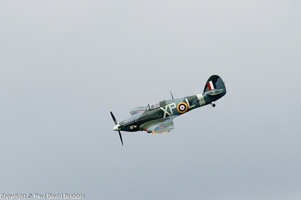 """Hawker Hurricane MK IIB """"Hurri Bomber"""" from the Hanger 11 collection performs a fly past at the Wartime Weekend Scarborough Castle.Sunday 30th May 2010 .Images © Paul David Drabble."""