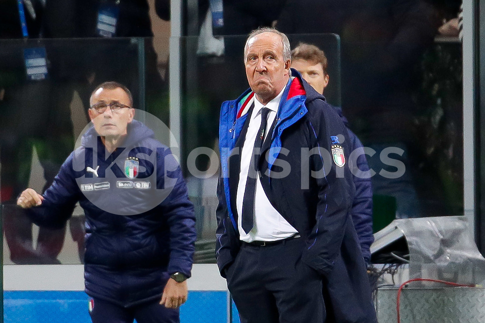 Italy coach Giampiero Ventura dejected during the 2018 World Cup Qualifying Play-Off match between Italy and Sweden at Stadio San Siro, Milan, Italy on 13 November 2017. Photo by Roberto Bregani.