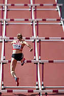 Great Britain, London - 2017 August 05: Geraldine Ruckstuhl from Switzerland competes in women's 100 meters hurdles while heptathlon during IAAF World Championships London 2017 Day 2 at London Stadium on August 05, 2017 in London, Great Britain.<br /> <br /> Mandatory credit:<br /> Photo by © Adam Nurkiewicz<br /> <br /> Adam Nurkiewicz declares that he has no rights to the image of people at the photographs of his authorship.<br /> <br /> Picture also available in RAW (NEF) or TIFF format on special request.<br /> <br /> Any editorial, commercial or promotional use requires written permission from the author of image.