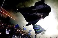 Fotball , 26. oktober 2008 , Tippeligaen , Eliteserien , Stabæk - Vålerenga 4-2<br /> <br /> Stabæk seriemester 2008<br /> illustrasjon Nadderud stadion , flagg, , fan , fans , publikum , skjerf , supporter , supportere