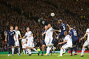 Scotland defender Liam Cooper (5) (Leeds United) gets up to head on goal during the UEFA European 2020 Qualifier match between Scotland and Russia at Hampden Park, Glasgow, United Kingdom on 6 September 2019.