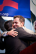 Paul Katami and Jeffrey Zarrilo, of the Gay couples and plaintiffs against Prop. 8, embraces each other at a rally after Prop. 8 was overturned.