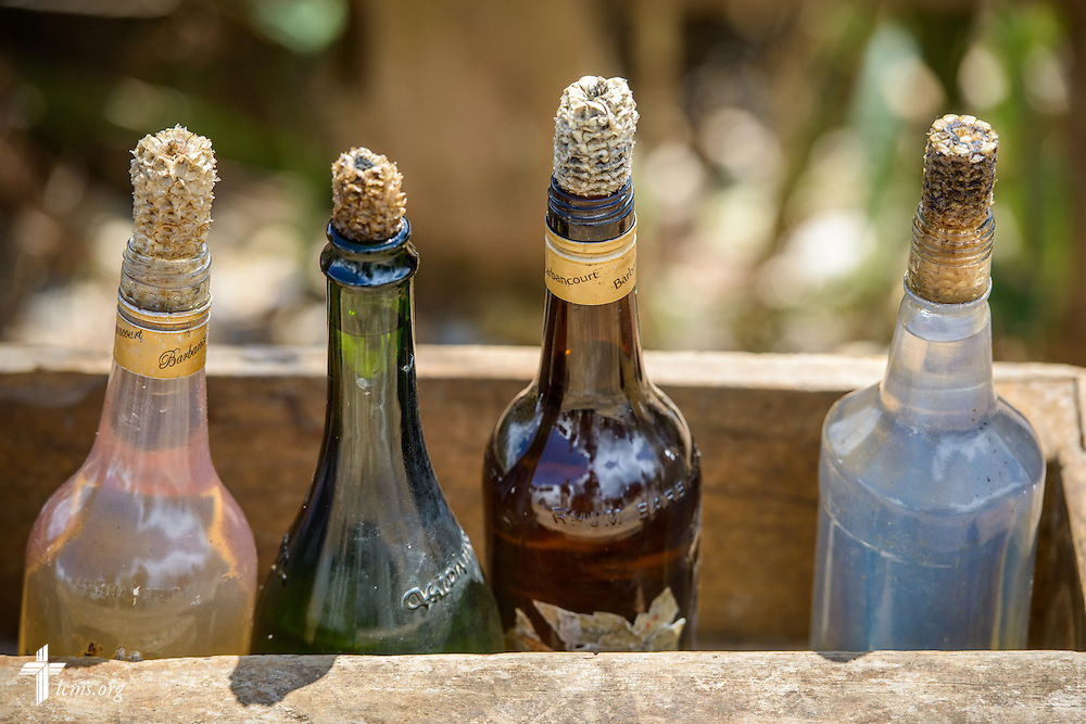 Bottles corked by corn on Wednesday, Oct. 12, 2016, in Duchity, Haiti. LCMS Communications/Erik M. Lunsford