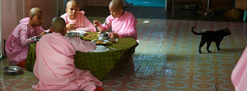 Myanmar (ex Birmanie), Yangon (Rangoon), dejeuner des nonnes // Myanmar (Burma), Yangon (Rangoon), nun lunch