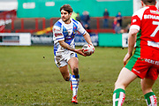 Workington Town scrum half Carl Forber (7) in action  during the Betfred League 1 match between Keighley Cougars and Workington Town at Cougar Park, Keighley, United Kingdom on 18 February 2018. Picture by Simon Davies.