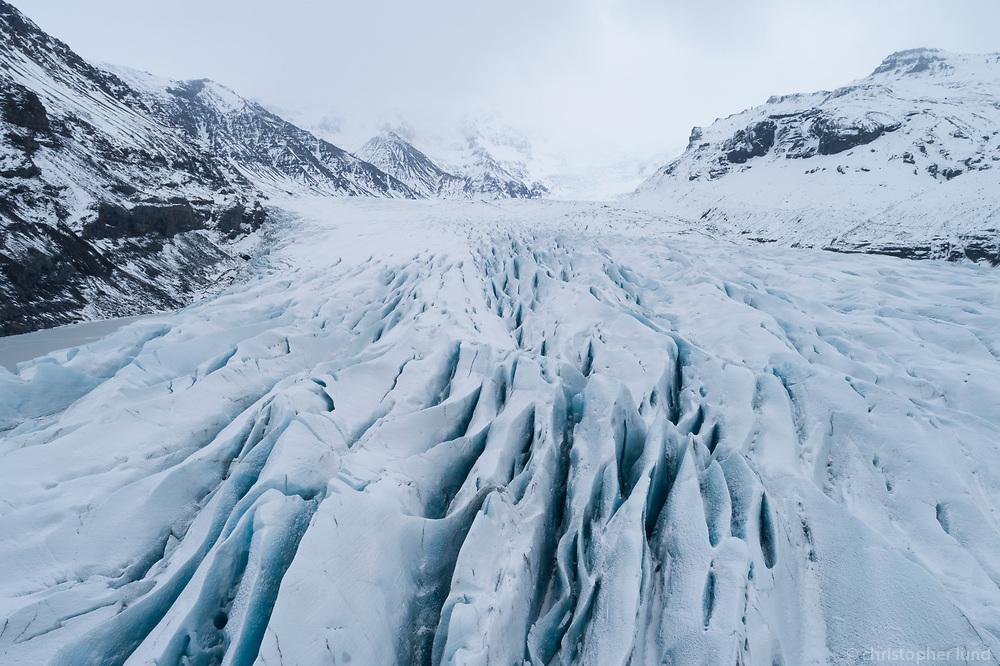 Drone shot of Svínafellsjökull outlet glacier, Vatnajökull National Park, Southeast Iceland.