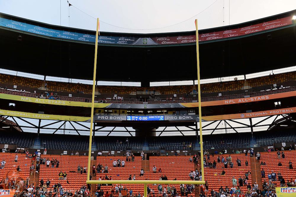 January 26, 2014; Honolulu, HI, USA; General view of the scoreboard after the 2014 Pro Bowl between Team Rice and Team Sanders at Aloha Stadium. Team Rice defeated Team Sanders 22-21.