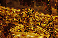 France. Paris. 1st district. Louvre museum. Louvre museum Napoleon 3 apartments   Golden Ornaments on Facade of Musee du Louvre Paris  France