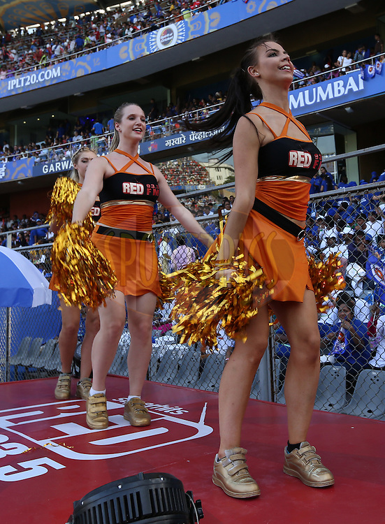 Cheer Girls performs during match 23 of the Pepsi IPL 2015 (Indian Premier League) between The Mumbai Indians and The Sunrisers Hyferabad held at the Wankhede Stadium in Mumbai India on the 25th April 2015.<br /> <br /> Photo by:  Sandeep Shetty / SPORTZPICS / IPL