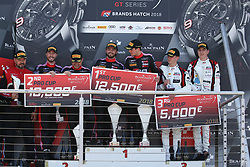 May 6, 2018 - Brands Hatch, Grande Bretagne - 2 BELGIAN AUDI CLUB TEAM WRT (BEL) AUDI R8 LMS DRIES VANTHOOR (BEl) WILL STEVENS (GBR) WINNERS OF THE RACE #1 BELGIAN AUDI CLUB TEAM WRT (BEL) AUDI R8 LMS ALEX RIBERAS (ESP) CHRISTOPHER MIES (DEU) SECOND OF THE RACE #88 AKKA ASP (FRA) MERCEDES AMG GT3 MICHAEL MEADOWS (GBR) RAFFAELE MARCIELLO (ITA) THIRD OF RACE 1 (Credit Image: © Panoramic via ZUMA Press)
