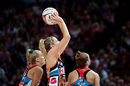 SYDNEY, NSW - JUNE 16: Caitlin Bassett of the Giants takes a shot during the round 8 Super Netball match between the Sydney Swifts and the Giants at Qudos Bank Arena on June 16, 2019 in Sydney, Australia.(Photo by Speed Media/Icon Sportswire)