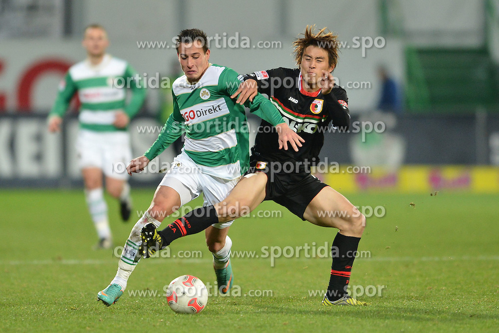 15.12.2012, Trolli Arena, Fuerth, GER, 1. FBL, SpVgg Greuther Fuerth vs FC Augsburg, 17. Runde, im Bild Edgar PRIB (Greuther Fuerth/ links) im Zweikampf mit Ja-Cheol KOO (FC Augsburg/ rechts). Action / Aktion // during the German Bundesliga 17th round match between SpVgg Greuther Fuerth and FC Augsburg at the Trolli Arena, Fuerth, Germany on 2012/12/15. EXPA Pictures © 2012, PhotoCredit: EXPA/ Eibner/ Matthias Merz..***** ATTENTION - OUT OF GER *****