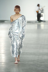 June 8, 2019 - London, United Kingdom - A model presents a new Spring/Summer 2020 Art School collection during London Fashion Weak Men's in the old Truman's Brewery show space in London on the June 8, 2019. (Credit Image: © Dominika Zarzycka/NurPhoto via ZUMA Press)