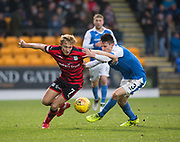 30th December 2017, McDiarmid Park, Perth, Scotland; Scottish Premiership football, St Johnstone versus Dundee; Dundee's A-Jay Leitch-Smith goes past St Johnstone's Scott Tanser