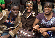"Columbus area high school students Ophelia Dodson (from left), Briana Yarbrough and Whitney Yarbrough wait for the ""Three Doctors"" presentation to begin at Templeton Blackburn Alumni Memorial Auditorium Thursday evening, 1/25/07."