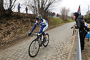 Belgium, March 31 2013: Loes Gunnewijk, ORICA-AIS, on the Oude-Kwaremont during the women's edition of the Ronde van Vlaandaren 2013 cycle race. Copyright 2013 Peter Horrell.