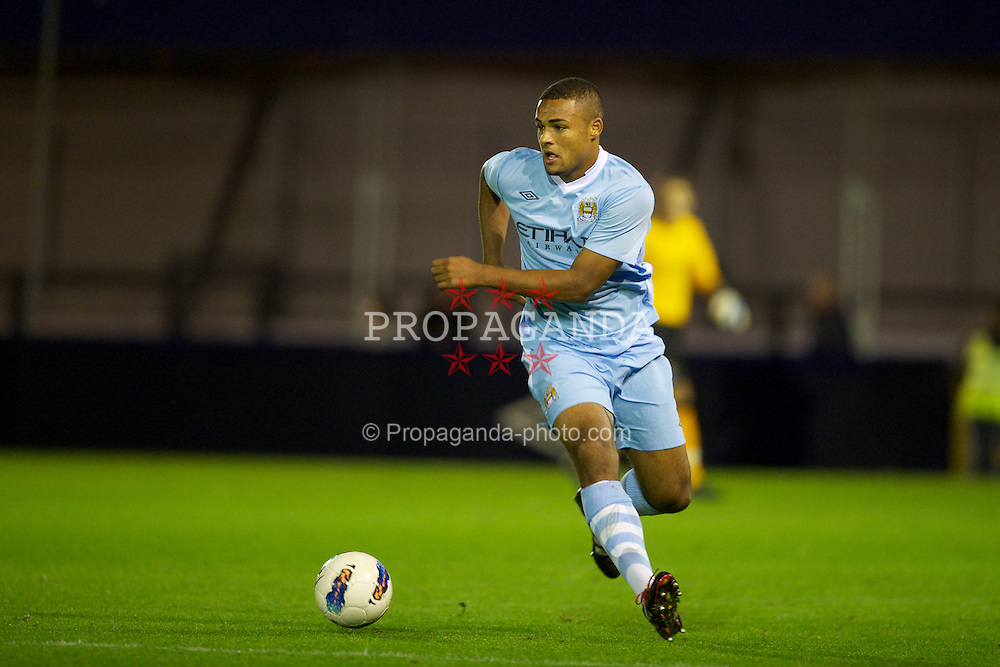 MANCHESTER, ENGLAND - Monday, October 17, 2011: Manchester City's Courtney Meppen-Walters in action against Glasgow Celtic during the NextGen Series Group 1 match at Ewen Fields. (Pic by David Rawcliffe/Propaganda)