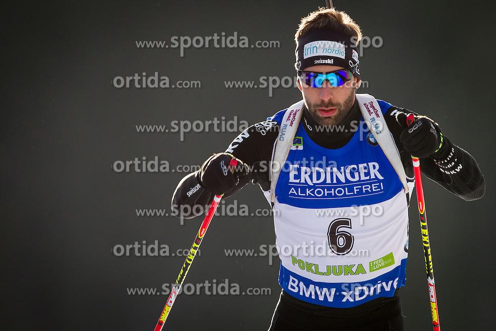 Serafin Wiestner (SUI) during Men 10 km Sprint at day 1 of IBU Biathlon World Cup 2015/16 Pokljuka, on December 17, 2015 in Rudno polje, Pokljuka, Slovenia. Photo by Urban Urbanc / Sportida