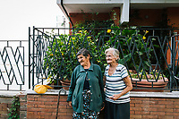 PIOPPI, ITALY - 14 SEPTEMBER 2018: (L-R) Giovanna (87) and Maria (92) pose for a portrait in Pioppi, Italy, on September 14th 2018.<br /> <br /> To understand how people can live longer throughout the world, researchers at University of California, San Diego School of Medicine have teamed up with colleagues at University of Rome La Sapienza to study a group of 300 citizens, all over 100 years old, living in Acciaroli (Pollica), a remote Italian village nestled between the ocean and mountains in Cilento, southern Italy.<br /> <br /> About 1-in-60 of the area's inhabitants are older than 90, according to the researchers. Such a concentration rivals that of other so-called blue zones, like Sardinia and Okinawa, which have unusually large percentages of very old people. In the 2010 census, about 1-in-163 Americans were 90 or older.