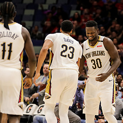 Oct 23, 2018; New Orleans, LA, USA; New Orleans Pelicans forward Julius Randle (30) celebrates with New Orleans Pelicans forward Anthony Davis (23) during the second half against the Los Angeles Clippers at the Smoothie King Center. The Pelicans defeated the Clippers 116-109. Mandatory Credit: Derick E. Hingle-USA TODAY Sports