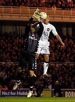 Photo: Jed Wee/Sportsbeat Images.<br /> Middlesbrough v Manchester United. The FA Cup. 10/03/2007.<br /> <br /> Manchester United's Henrik Larsson (R) jumps with Middlesbrough goalkeeper Mark Schwarzer.