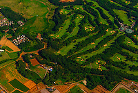 Aerial view of a golf course near Narita International Airport, Tokyo, Japan.