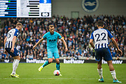 Harry Kane (Tottenham) in action  during the Premier League match between Brighton and Hove Albion and Tottenham Hotspur at the American Express Community Stadium, Brighton and Hove, England on 5 October 2019.