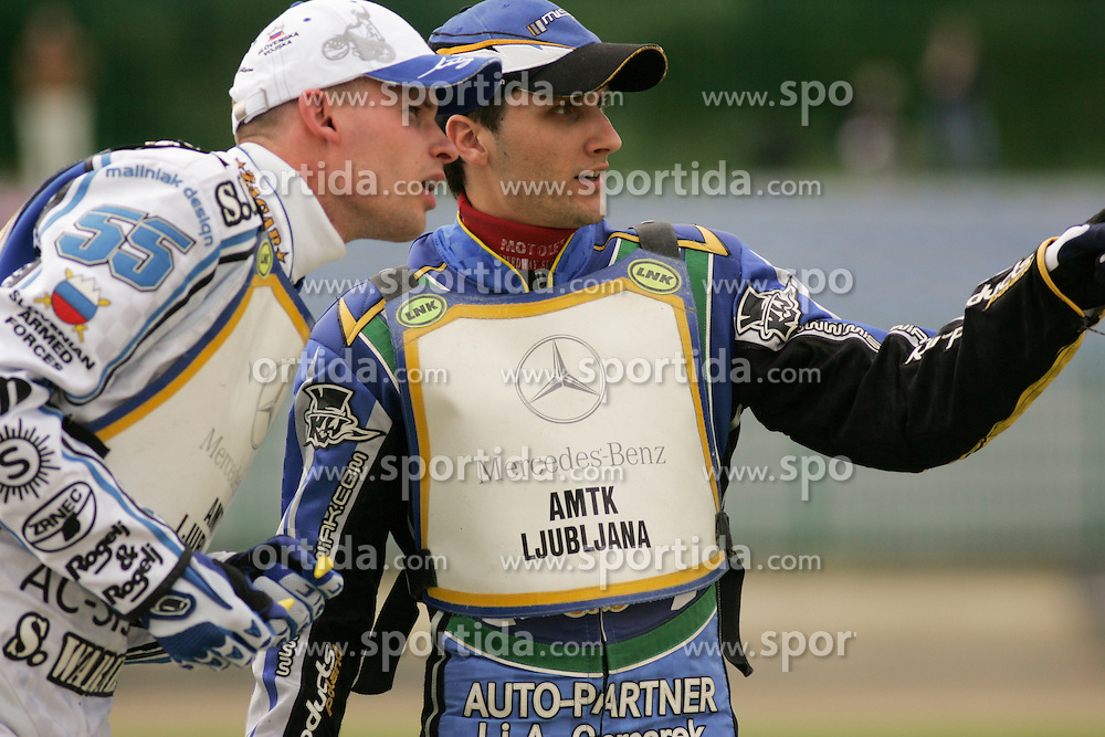 Matej Zagar of Slovenia and Robert Miskowiak of Poland at Speedway European Championship race semi finals of individuals, on June 19, 2010, in Sportni park Ilirije, Ljubljana, Slovenia. (Photo by Urban Urbanc / Sportida)