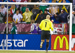 United States goalkeeper Tim Howard (1) heads to the goal for the start of the game.  The United States men's soccer team defeated the Mexican national team 2-0 in CONCACAF final group qualifying for the 2010 World Cup at Columbus Crew Stadium in Columbus, Ohio on February 11, 2009.