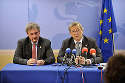 Jean Asselborn, Luxembourg's foreign minister, left, and Jean-Claude Juncker, Luxembourg's prime minister, hold a news conference following the European Union Summit at the EU headquarters in Brussels, Belgium, on Friday, Oct. 30, 2009. (Photo © Jock Fistick)