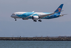 China Southern Boeing 787-8 Dreamliner (B-2735) lands at San Francisco International Airport (SFO), Millbrae, California, United States of America