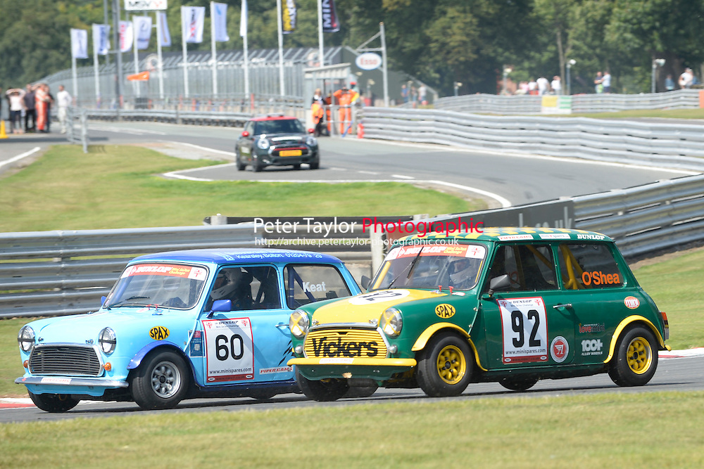 #60 Malcolm Keat Mini 7 and #92 Kevin O'Shea Mini 7 S Class during Mini Se7en - Race 1  as part of the Mini Festival  at Oulton Park, Little Budworth, Cheshire, United Kingdom. August 08 2015. World Copyright Peter Taylor. Copy of publication required for printed pictures.  Every used picture is fee-liable. http://archive.petertaylor-photographic.co.ukphotographic.co.uk