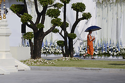 November 3, 2018 - Bangkok, Thailand - A monk walks past the funeral ceremony of Vichai Srivaddhanaprabha, late chairman of Leicester City Football Club, in Bangkok, Thailand November 3, 2018. (Credit Image: © Anusak Laowilas/NurPhoto via ZUMA Press)
