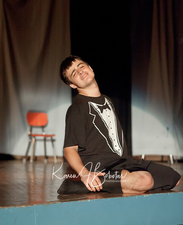 """CJ Tsantoulis gave a rivoting performance of Chris Brown's """"Yo (Excuse Me Miss)"""" during the talent portion of Mr. LHS Friday evening.  (Karen Bobotas/for the Laconia Daily Sun)"""