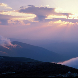 AMC Huts. White Mountain NF. God rays.  Sunset.  Greenleaf Hut.  Mt. Lafayette, NH