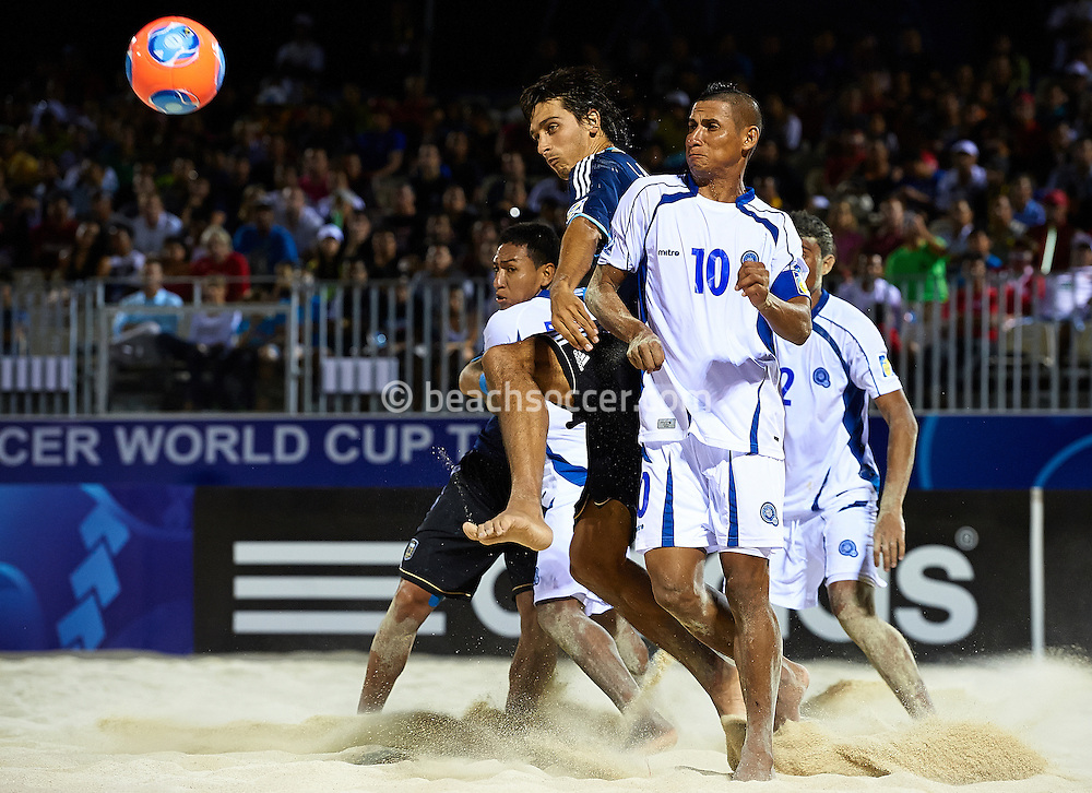 PAPEETE, TAHITI - OCTOBER 20:  FIFA Beach Soccer World Cup Tahiti 2013 between Argentina and El Salvador at Stadium Tahua To´ata  on October 20, 2013 in Papeete, Tahiti. (Photo by Manuel Queimadelos)