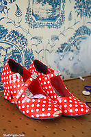 Red polk a dot shoes another unstaged moment to cute not to capture. Photograph by Star Nigro<br />