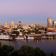 Sacramento Skyline Panoramic 2007 - From the roof top of the<br /> &quot;Ziggurat&quot; on the river in W. Sacramento, Ziggurat Building Roof Top Panoramic, Sacramento California Skyline, Early Evening