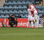 Hamilton&rsquo;s Carlton Morris is congratulated after scoring the winner - Dundee v Hamilton Academical, Ladbrokes Scottish Premiership at Dens Park<br /> <br />  - &copy; David Young - www.davidyoungphoto.co.uk - email: davidyoungphoto@gmail.com