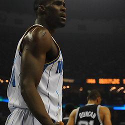 Jan 18, 2010; New Orleans, LA, USA; New Orleans Hornets center Emeka Okafor (50) reacts after being called for a foul against the San Antonio Spurs during the first half at the New Orleans Arena. Mandatory Credit: Derick E. Hingle-US PRESSWIRE
