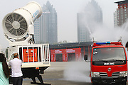 ZHENGZHOU, CHINA - SEPTEMBER 25: (CHINA OUT) <br /> <br /> Anti-fog Machines<br /> <br /> Anti-fog machines, WF200 spraying machine with a giant water cannon is seen at an exhibition of environmental protection on September 25, 2014 in Zhengzhou, Henan province of China. Exhibition of environmental protection and energy saving was held at Zhengzhou International Exhibition Center. New energy saving technologies and environmental equipment are shown at the exhibition.<br /> ©Exclusivepix