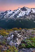 Twilight over Mount Matier (left 2783 m -9131 ft) and Joffre Peak (2721 m -8927 ft) seen from ridge of Mount Rohr British Columbia Canada beauty in nature