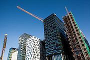 Fasade av seks bygg i Bjørvika, PWC, KLP, Visma