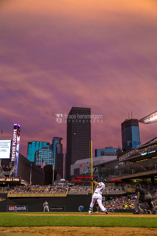 MINNEAPOLIS, MN- JUNE 09: A general view of Target Field as Trevor Plouffe #24 of the Minnesota Twins bats against the Kansas City Royals on June 9, 2015 at Target Field in Minneapolis, Minnesota. The Royals defeated the Twins 2-0. (Photo by Brace Hemmelgarn) *** Local Caption *** Trevor Plouffe