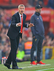 MANCHESTER, ENGLAND - Sunday, February 24, 2019: Manchester United's manager Ole Gunnar Solskjær (Solskjaer) reacts during the FA Premier League match between Manchester United FC and Liverpool FC at Old Trafford. (Pic by David Rawcliffe/Propaganda)