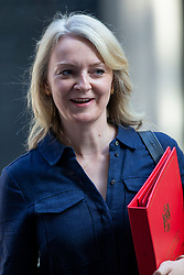 © Licensed to London News Pictures. 25/07/2019. London, UK. International Trade Secretary Liz Truss departs Downing Street after the first meeting of the new Cabinet. Later today Prime Minister Boris Johnson will speak in the House of Commons.  Photo credit: George Cracknell Wright/LNP