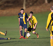 Wellbeat (yellow and black) v Parktool (blue) in the Dundee Saturday Morning Football Trident Trophies Second Division Cup at Drumgeith, Dundee - Photo: David Young, <br /> <br />  - © David Young - www.davidyoungphoto.co.uk - email: davidyoungphoto@gmail.com