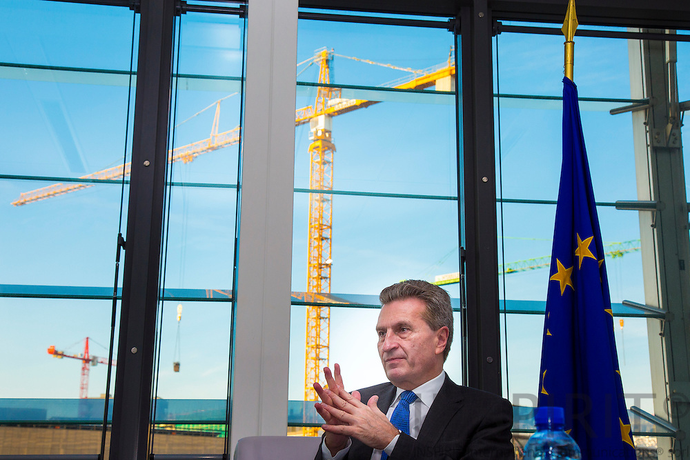 Guenther Oettinger, the German EU-Commissioner for Energy, during an interview in his office Tuesday 3 December 2013. Photo: Erik Luntang